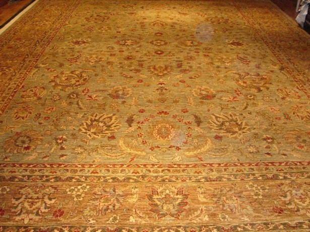 Ferehan Hand-Knotted Gold/Light Blue Area Rug