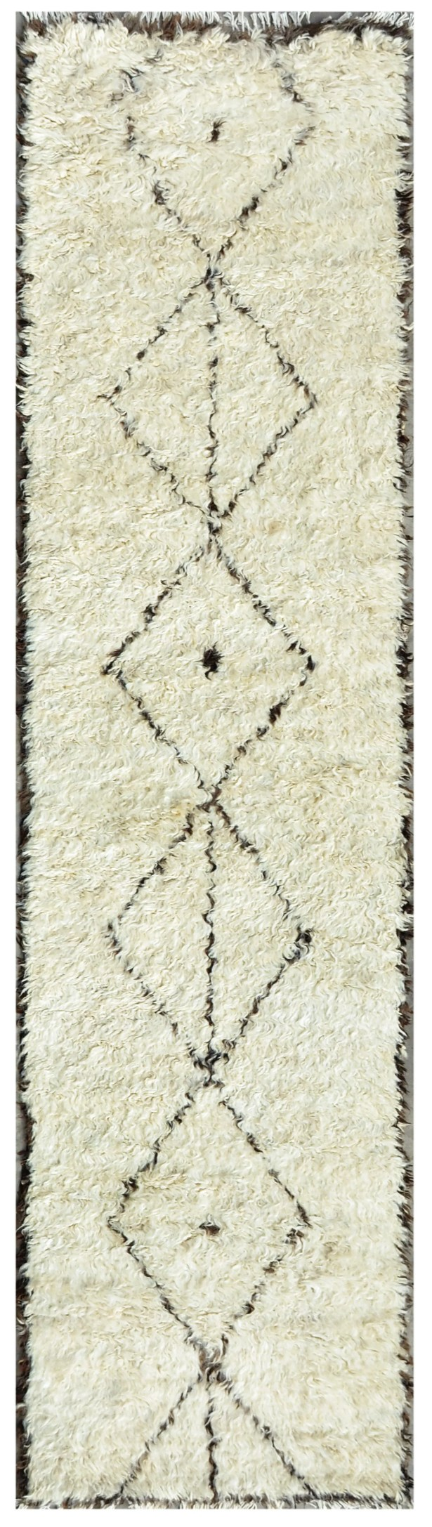 Moroccan Hand-Knotted Ivory Area Rug Rug Size: Runner 2'7