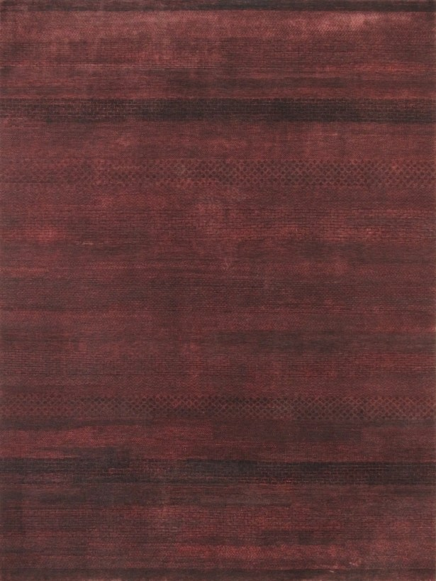 Gabbeh Hand-Knotted Aubergine Area Rug