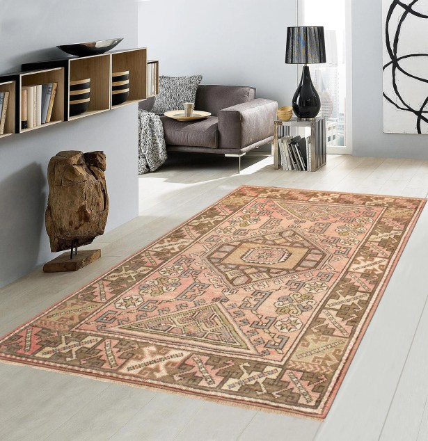 Oushak Hand Woven Wool Salmon/Brown Area Rug