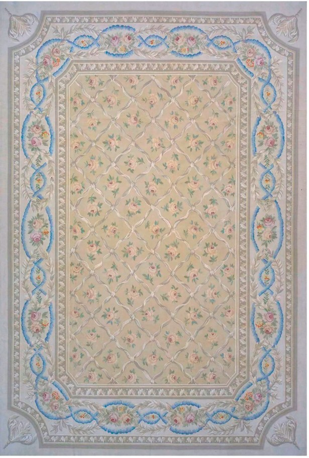 Aubusson Hand-Woven Wool Beige/Brown/Blue Area Rug Rug Size: Rectangle 10'11