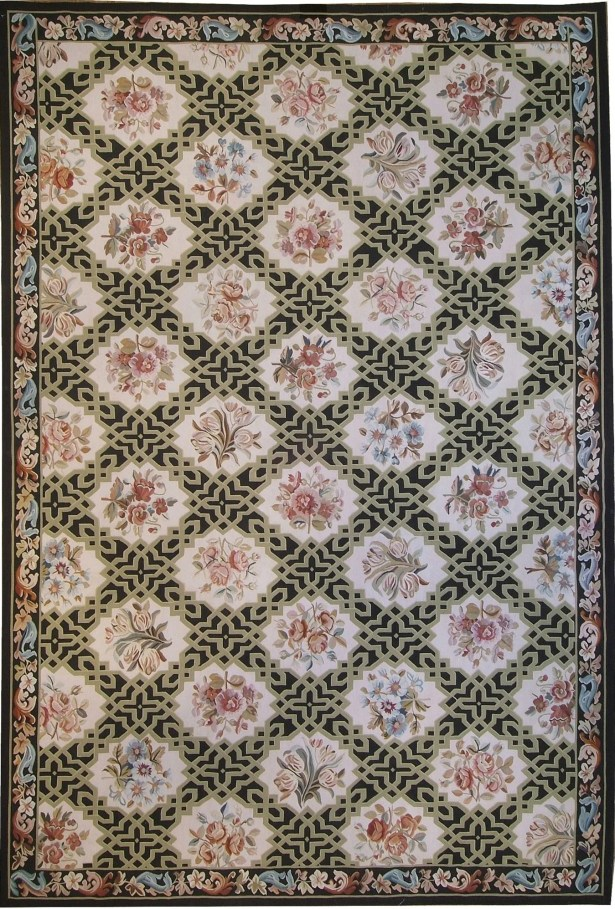 One-of-a-Kind Aubusson Hand-Woven Wool Beige/Black/Pink Area Rug