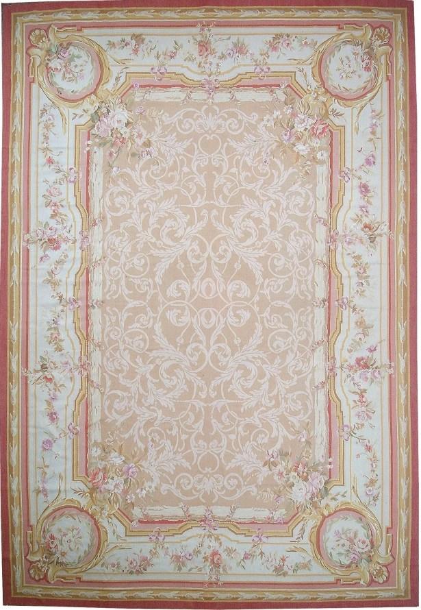 Aubusson Hand-Woven Wool Beige/Peach Area Rug