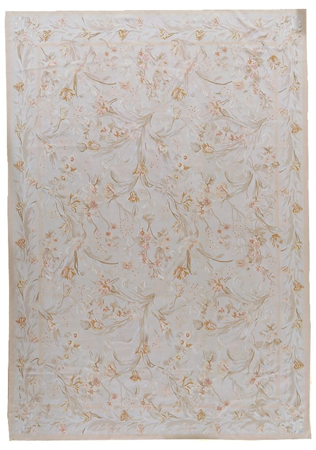 One-of-a-Kind Aubusson Hand-Woven Wool Cream/Beige Area Rug Rug Size: Rectangle 10'10