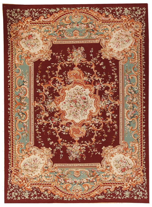 One-of-a-Kind Aubusson Hand Woven Wool Red Area Rug Rug Size: Rectangle 11'2