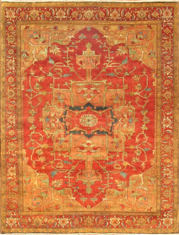 Serapi Hand-Knotted Wool Rust Area Rug Rug Size: Rectangle 4' x 6'