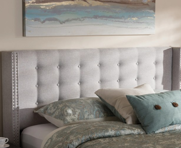 Schley Bella Modern and Contemporary Upholstered Wingback Headboard Size: Full, Color: Grayish Beige