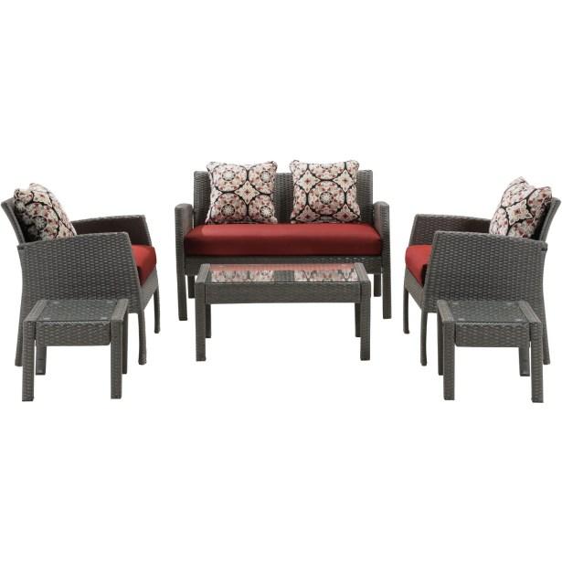 Lewellyn 6 Piece Sofa Set with Cushions Fabric: Crimson Red