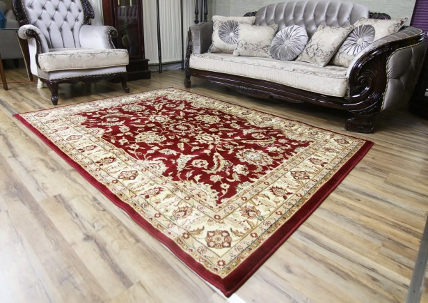 Passion Red/Beige Area Rug Rug Size: 7'10