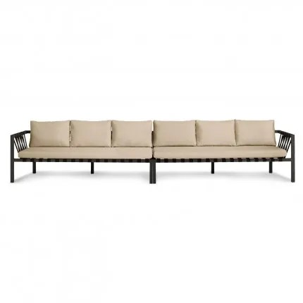 Jibe Outdoor Extra Long Sofa with Cushions Frame Color: Black