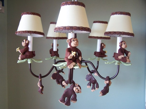 Monkey Business 5-Light Shaded Chandelier Shade: Goin Bananas