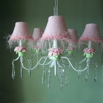 Baby Pink Flower 5-Light Shaded Chandelier Shade: Baby Pink Flower