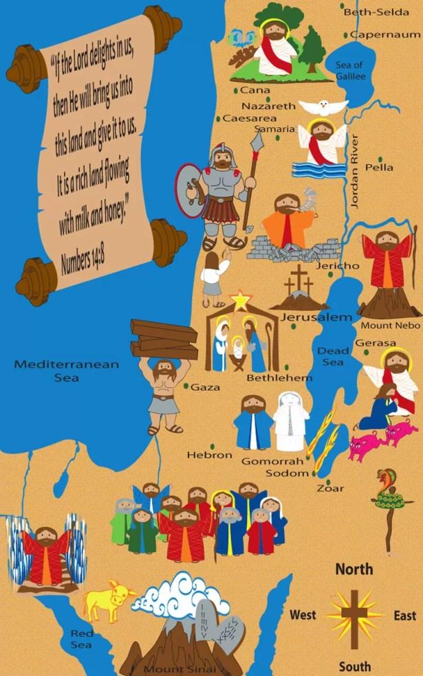 Holy Land Map Sunday School Area Rug Rug Size: Rectangle 7'6