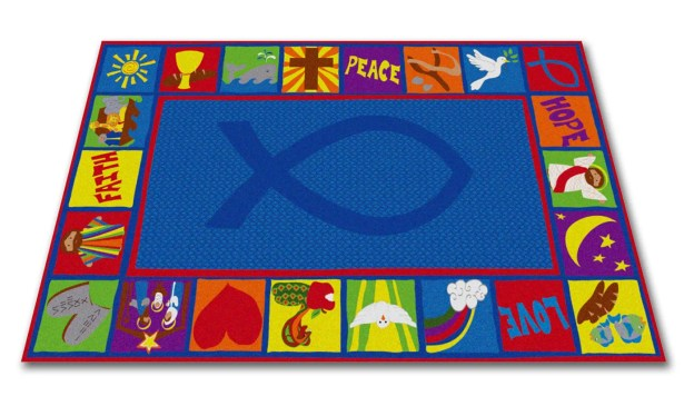 Bible Squares Christian School Blue Area Rug Rug Size: 7'6