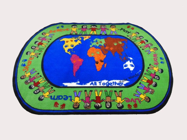 All Together Green/Blue Area Rug Rug Size: Oval 5' x 8'