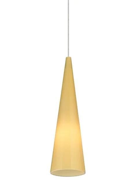 Pinnacle 1-Light Cone Pendant Base Finish: Satin Nickel, Shade Color: Latte, Bulb Type: 80 CRI 3000K LED