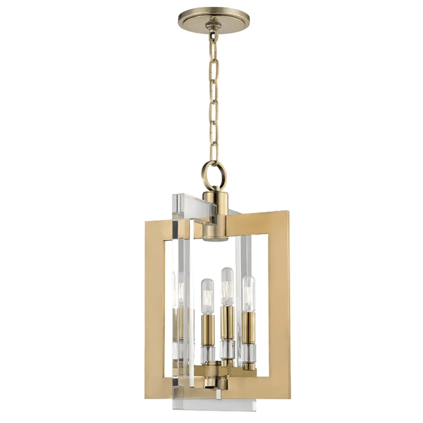 Mott 4-Light Square/Rectangle Pendant Finish: Aged Brass