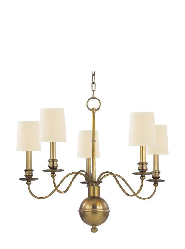 Lindgren 5-Light Shaded Chandelier Finish: Aged Brass, Shade Color: Cream