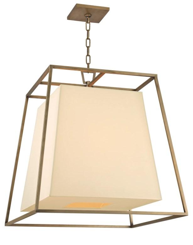 Casner 4-Light Square/Rectangle Pendant Finish: Aged Brass, Shade Color: Cream