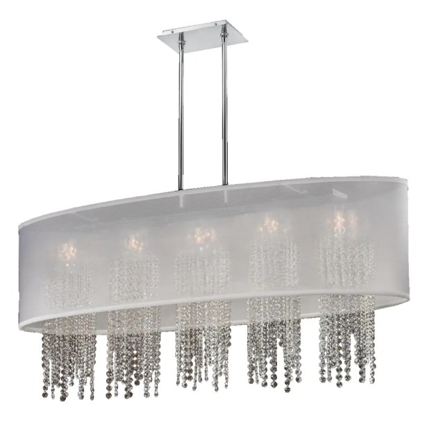 Kenlee Oval Shaded Strand 5-Light Kitchen Island Pendant Shade Color: White