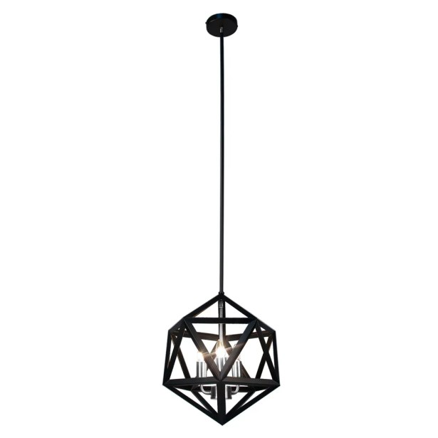 Archello 3-Light Geometric Chandelier Finish: Matte Black / Chrome