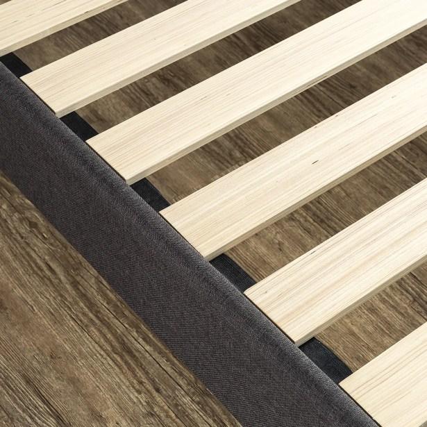Rozar Square Stitched Wingback Upholstered Platform Bed Size: King