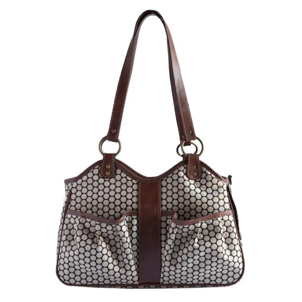 Petote Metro Espresso Dot Pet Carrier with Leather Trim Size: Large (11.5