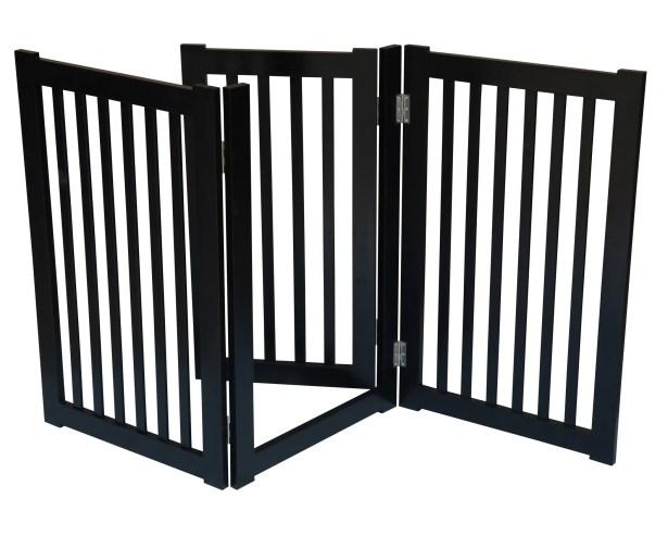 3 Panel Free Standing Pet Gate Finish: Black