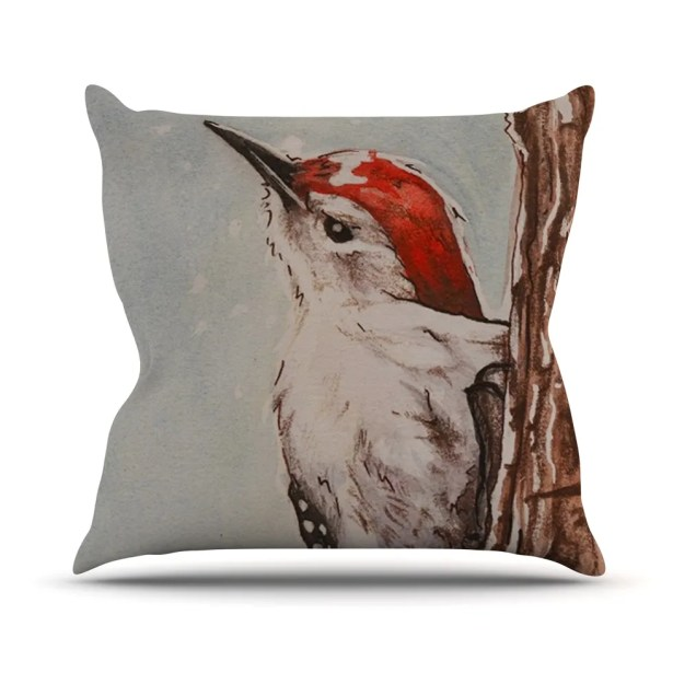 Downy Woodpecker by Brittany Guarino Throw Pillow Size: 26'' H x 26'' W x 1