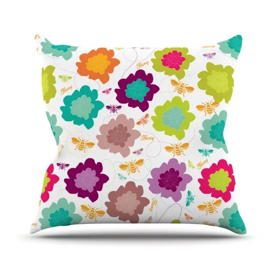 Bee Highway Throw Pillow Size: 26
