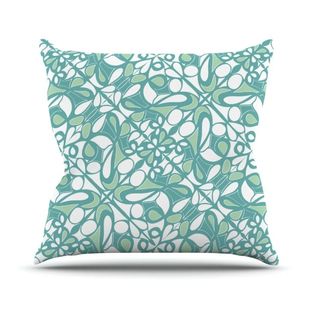Swirling Tiles Teal Throw Pillow Size: 26
