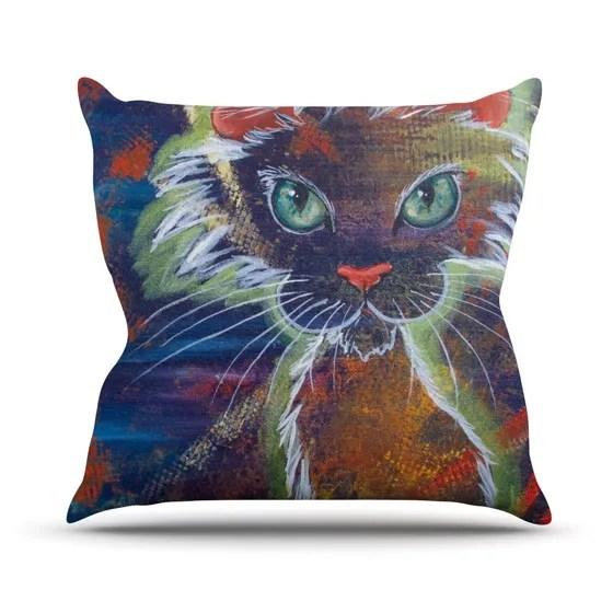 Rave Kitty Throw Pillow Size: 26