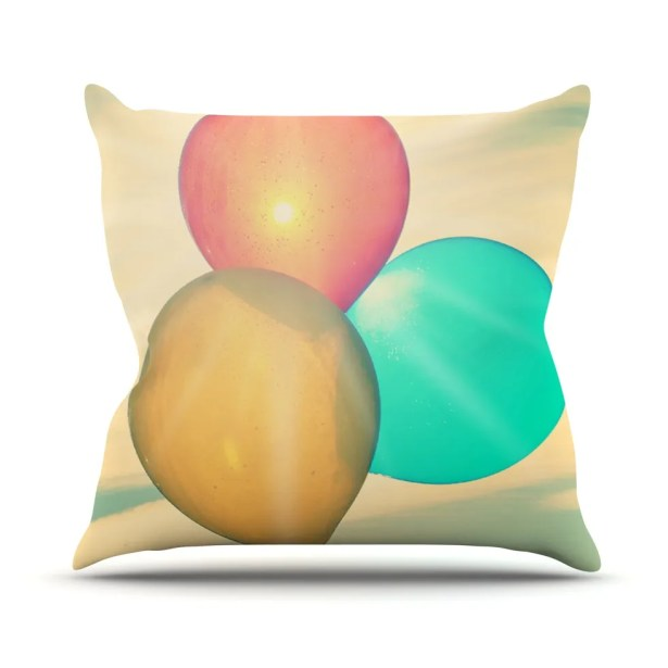 Balloons by Robin Dickinson Tan Clouds Throw Pillow Size: 26