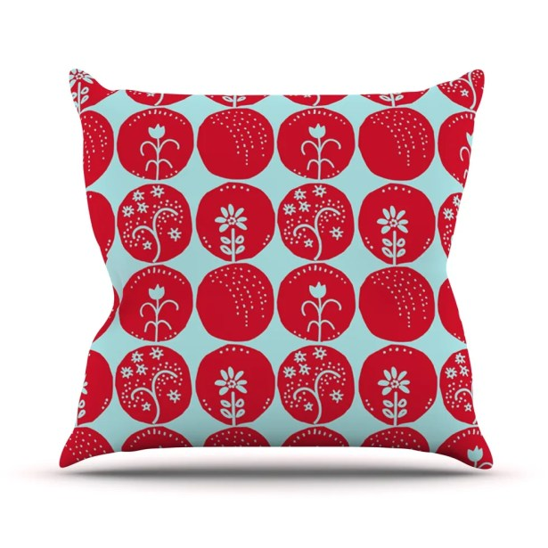 Dotty Papercut by Anneline Sophia Throw Pillow Color: Red/Blue, Size: 26'' H x 26'' W x 1