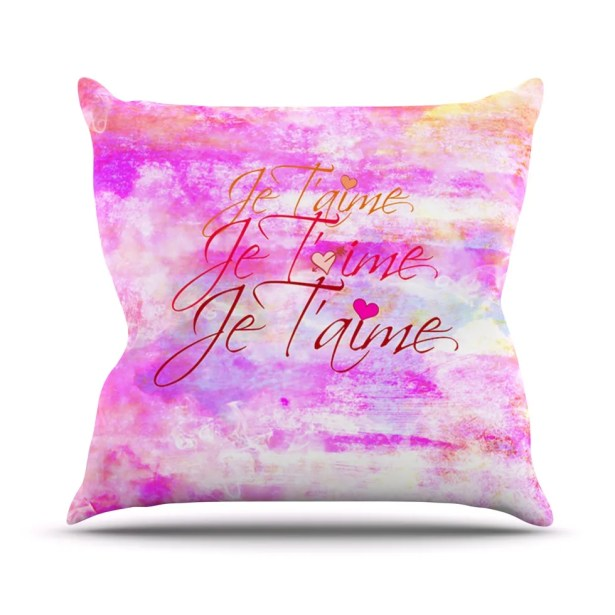 Je T'aime II by Ebi Emporium Abstract Throw Pillow Size: 26