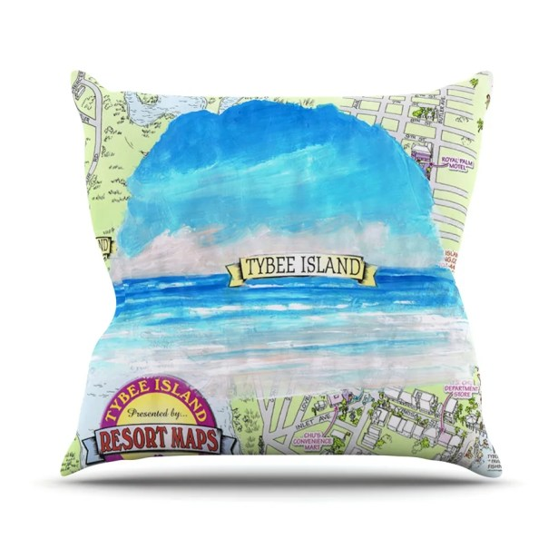 Tybee Island by Rosie Brown Ocean View Throw Pillow Size: 26
