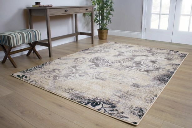 Pompey Muted Vines Gray/Beige Area Rug Rug Size: 7'10