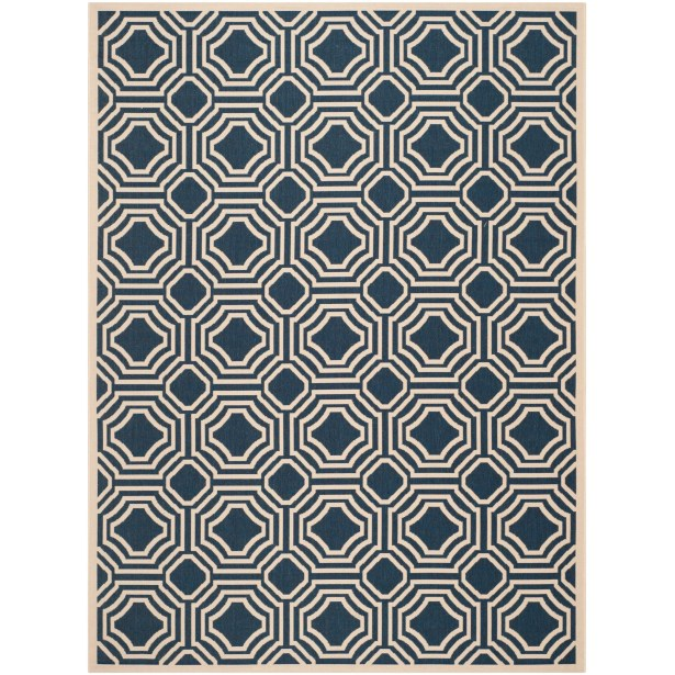 Best Navy Beige Indoor Outdoor Area Rug Rug Size Rectangle 9 X 12