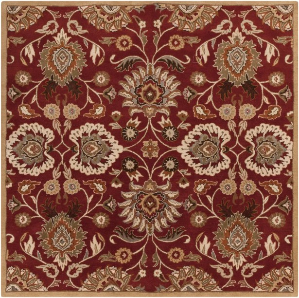 Phoebe Brick Tufted Wool Area Rug Rug Size: Square 8'