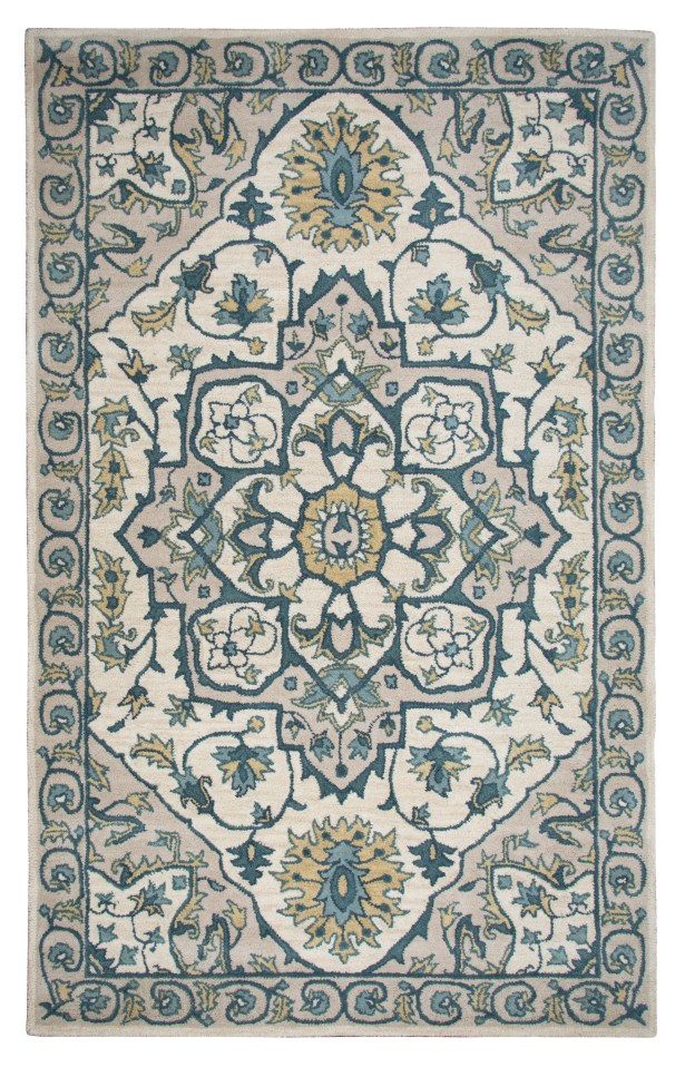 Lamothe Hand-Tufted Rust Area Rug Rug Size: Rectangle 5' x 8', Color: Ivory/Cream