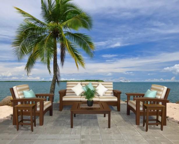 Days End 6 Piece Sunbrella Sofa Set with Cushions Color: White, Fabric: Foster Metallic Stripe