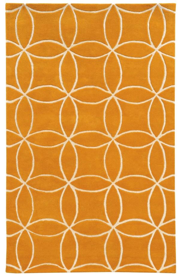 Optic Geometric Hand-Tufted Yellow/Ivory Area Rug Rug Size: Rectangle 5' x 8'