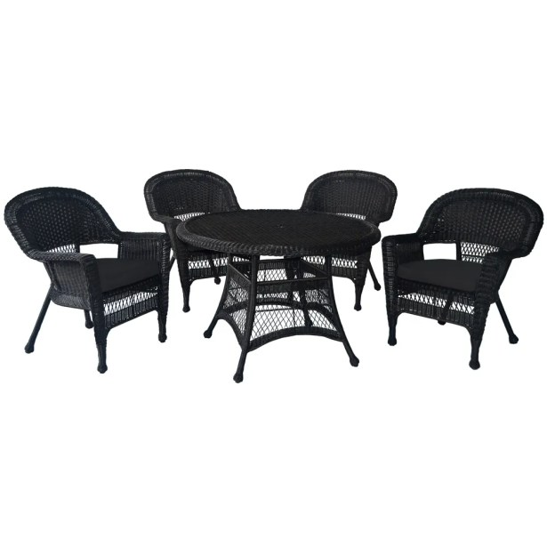 5 Piece Dining Set Finish: Honey, Cushion Color: Red