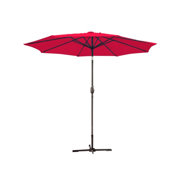9' Market Umbrella Fabric: Red, Frame Finish: Grey