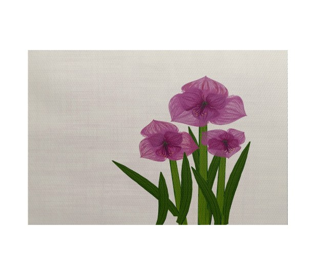 Amanda Amaryllis Floral Print Purple/Green Indoor/Outdoor Area Rug Rug Size: Rectangle 3' x 5'