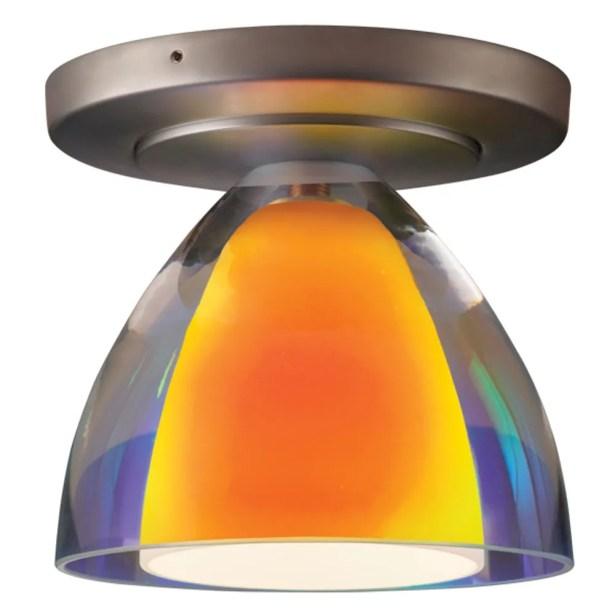 Rainbow 1-Light Flush Mount Color: Matte Chrome, Shade Color: Sunrise