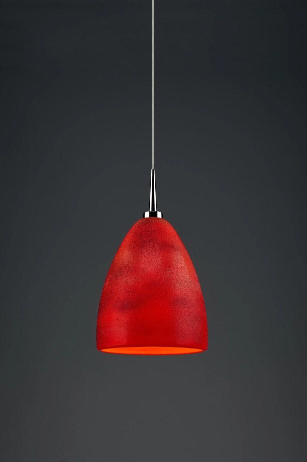 Alexander 1-Light Cone Pendant Shade Color: Red, Color: Chrome
