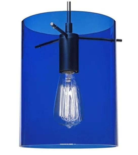 London 1-Light Cylinder Pendant Shade Color: Blue, Color: Matte Chrome
