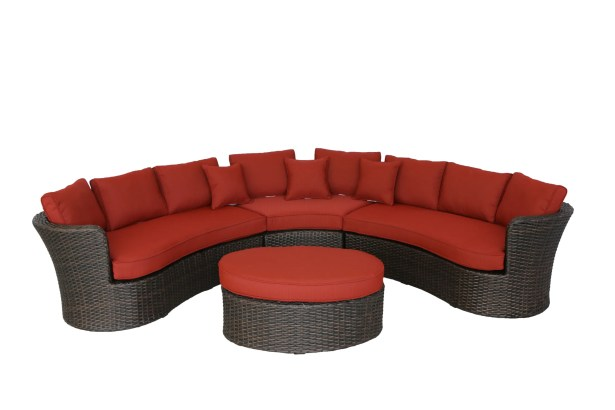 Seagle Curved 4 Piece Sectional Set with Cushions Fabric: Brick