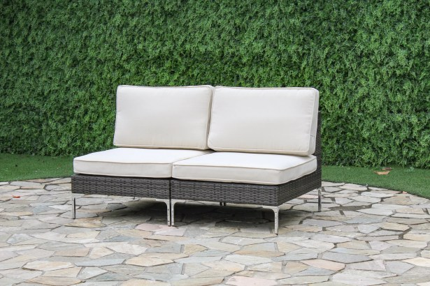 Iron Acton Outdoor Wicker Loveseat with Cushions Color: Cream